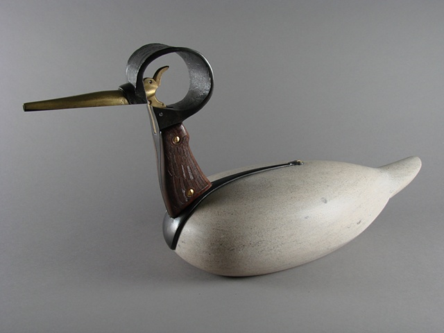 Duck decoy sculpture.