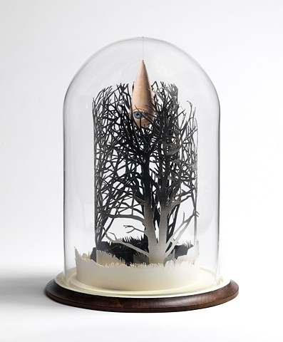 black forest cut paper trees, ceramic raindrop in bell jar by leigh craven