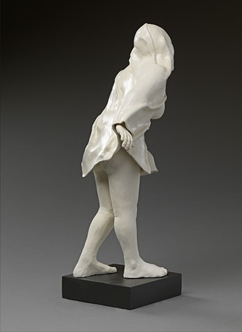 ceramic work shrouded figure by leigh craven