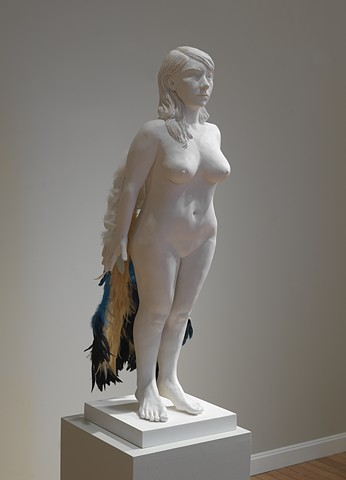 installation with ceramic and mixed media figure with bird wings by leigh craven