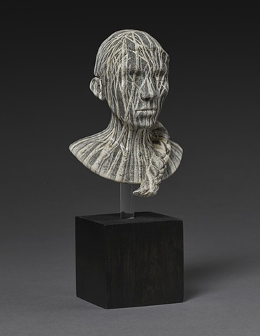 ceramic work with drawn surface bust with trees by leigh craven