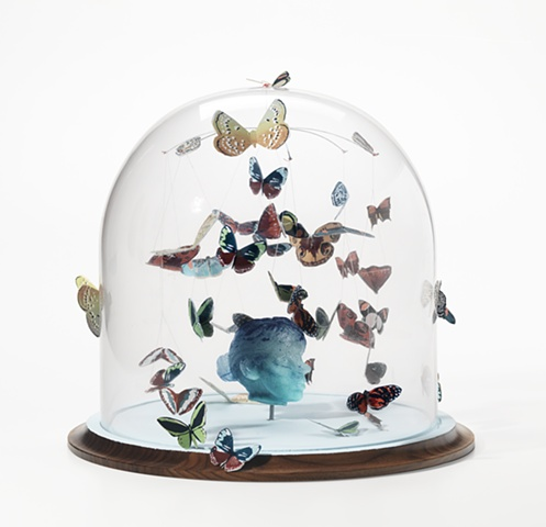 cast glass head with silkscreen butterflies in bell jar by leigh craven