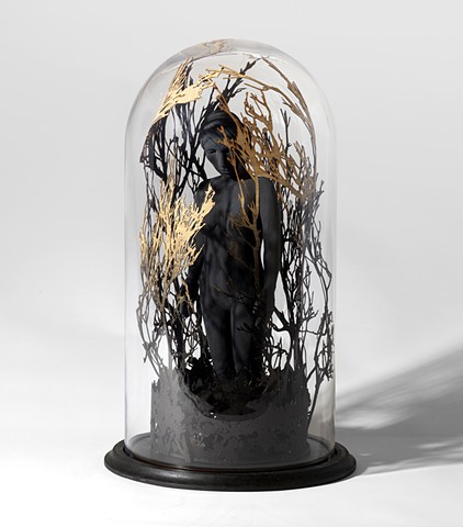 bell jar with sculpture figure with trees by leigh craven