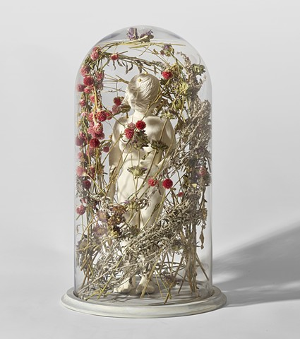 bell jar with sculpture figure with flowers by leigh craven