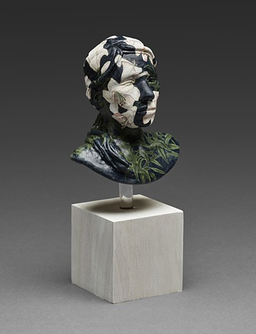 ceramic work with underglaze surface bust with lilies by leigh craven