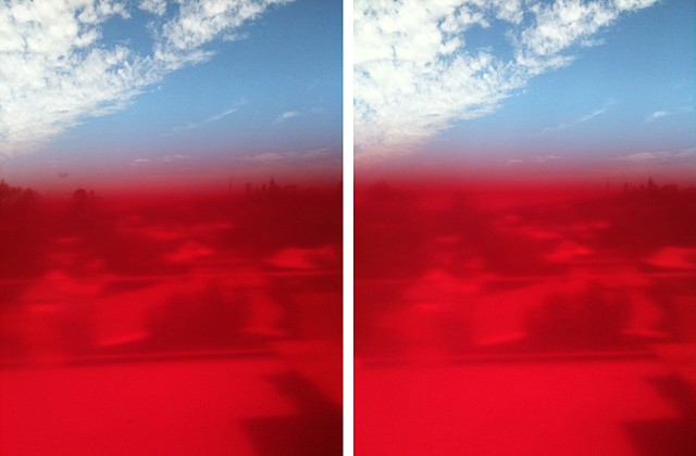 sieve red photographs mounted on aluminium 2 panels, 25.4 x 20.4 cm ea.