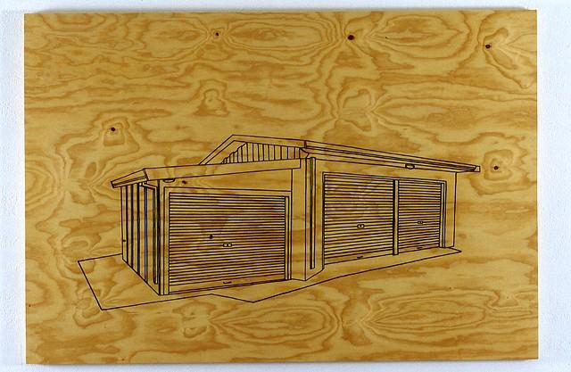 self storage unit charcoal, estapol on plywood 122 x 180 cm