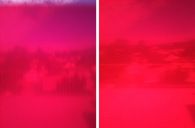 sieve pink photographs mounted on aluminium 2 panels, 25.4 x 20.4 cm ea.