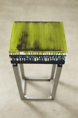 exchange 5   acrylic, enamel, canvas, wood, plastic, steel. 93.5 x 41 x 30.5 cm