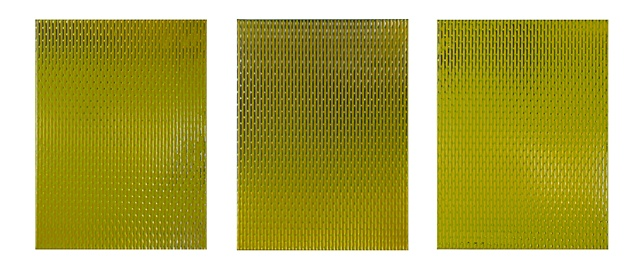 register IIIauto acrylic and enamel on canvas triptych, each panel 40.5 x 30.5 x 4 cm produced for the MHF 20 commission