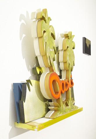 separation anxiety  (detail) polyurethane, enamel, resin,  steel, modified IKEA shelf  Overall 122 x 243 x 26 cm