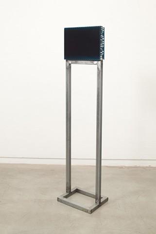exchange 6  (side B) acrylic, enamel, canvas, wood, plastic, steel. 170 x 40 x 31 cm