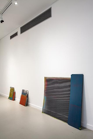 surplus and deficit enamel and acrylic lacquer on steel dimensions variable