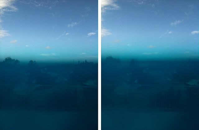 sieve blue photographs mounted on aluminium 2 panels, 25.4 x 20.4 cm ea.