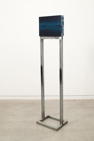 exchange 6  (side A) acrylic, enamel, canvas, wood, plastic, steel. 170 x 40 x 31 cm