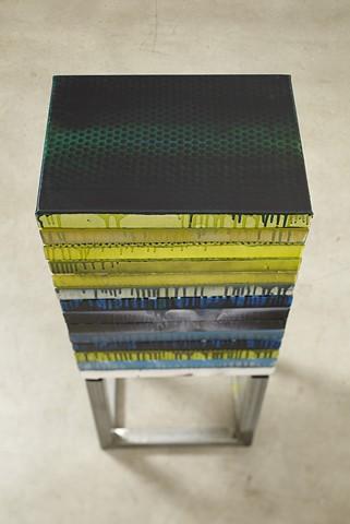 exchange 1   acrylic, enamel, canvas, wood, plastic, steel. 98 x 41 x 30.5 cm