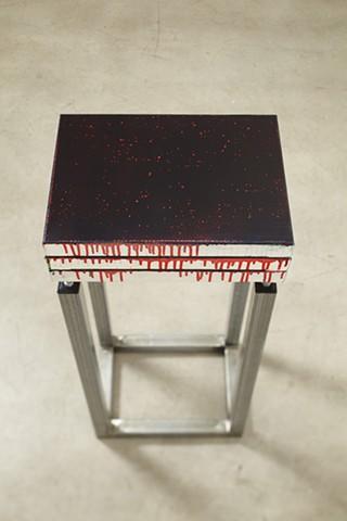 exchange 4   acrylic, enamel, canvas, wood, plastic, steel. 90 x 41 x 30.5 cm