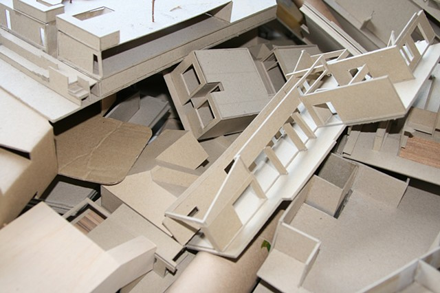 tactical response (detail) strawboard, balsa wood, paper tape,plywood dimensions variable