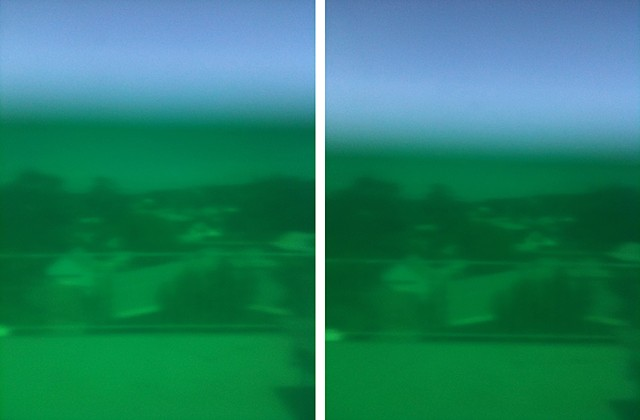 sieve green photographs mounted on aluminium 2 panels, 25.4 x 20.4 cm ea.