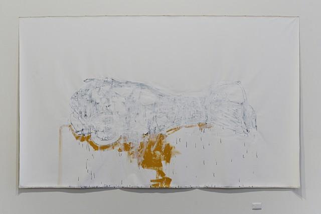 pre-tension graphite and auto acrylic on canvas 214 x 353 cm