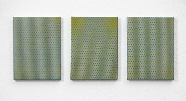 residual 2 acrylic and enamel on canvas each panel 41 x 30.5 x 4 cm Overall 41 x 104 x 4 cm