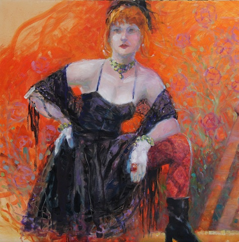 Jenni in her Toulouse Lautrec pub look.