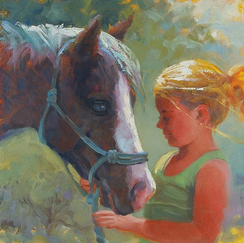 Young girl with her best pony friend.