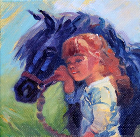 Little girl with her pony friend.