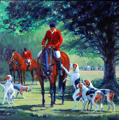 Hounds and horsemen meet in the morning for a fox hunt.