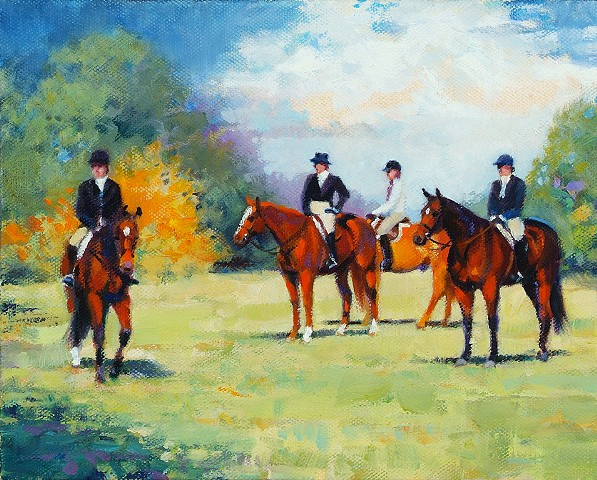 This painting depicts riders waiting their turn to compete in a class.