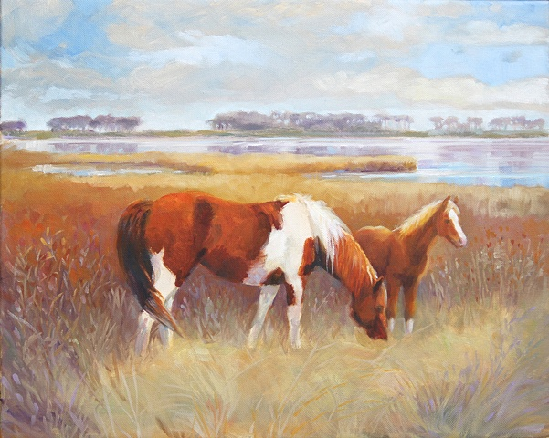 Wild Chincoteague Island Ponies–mare and foal in marsh setting