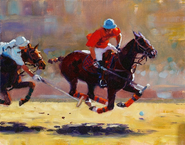 These polo players were painted from a photo (with permission) by my friend Louisa Davidson. I love the intense movement of the horses and riders""