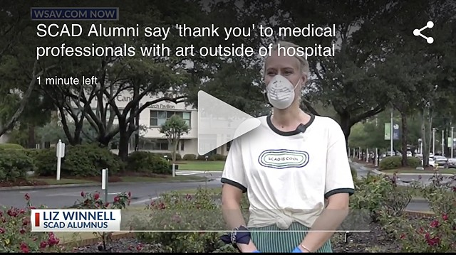 WSAV - SCAD alumni say 'thank you' to medical professionals with art outside of hospital