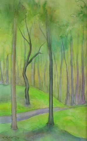 watercolor painting of a tree in a clearing in the woods, with an enchanted light