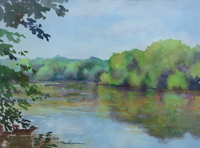 watercolor painting of trees along the Potomac River on a hot summer day