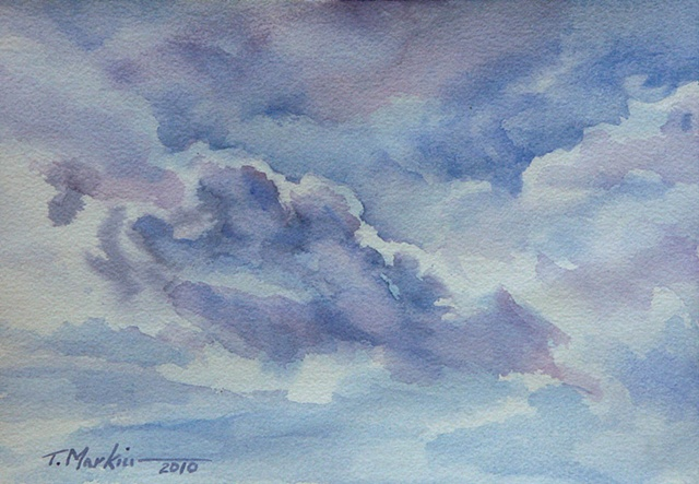 Watercolor painting of clouds in the sky