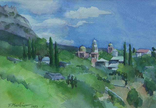 watercolor painting of a mountain view with scattered buildings outside Yalta, in the Crimea, Ukraine