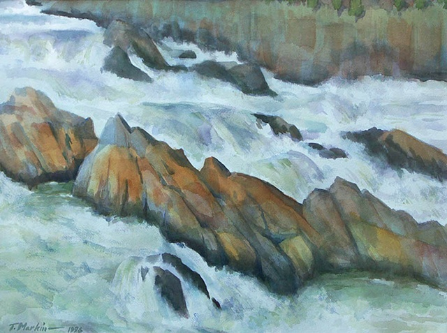 watercolor painting of rushing water cascading over the falls at Great Falls, Virginia