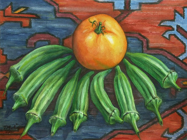 watercolor painting of a yellow tomato surrounded by green okra on an Azeri kilim rug