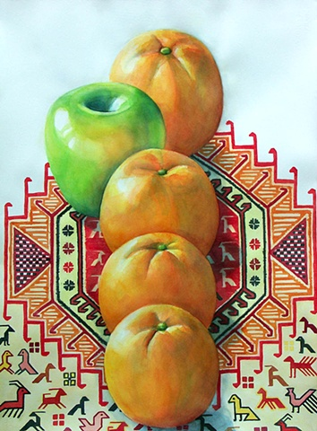 watercolor painting of a row of oranges with one green apple stepping out of line