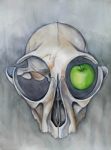 Watercolor painting of an animal skull with a green apple in the right eye socket