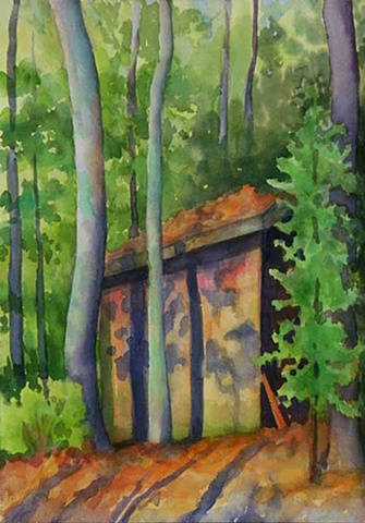 watercolor painting of a shed in the woods surrounded by trees and bathed in afternoon light