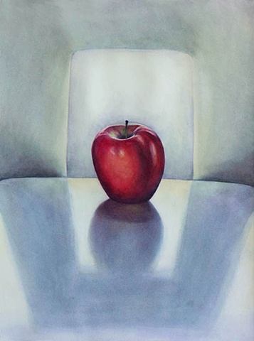Watercolor painting of a single red apple sitting on a white surface surrounded by strong shadows