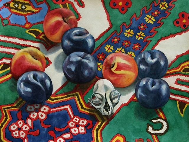 watercolor painting of peaches and plums with a small skull on a brightly patterned Azeri rug