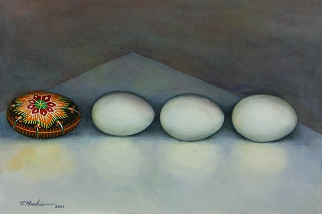 watercolor painting of three white eggs all in a row followed by a brightly decorated Ukrainian Easter egg (pysanka)