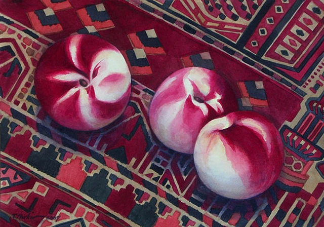 Watercolor painting of white peaches with brilliant red markings on a Turkmen rug