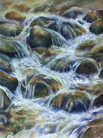 Watercolor paintings of water rushing over rocks
