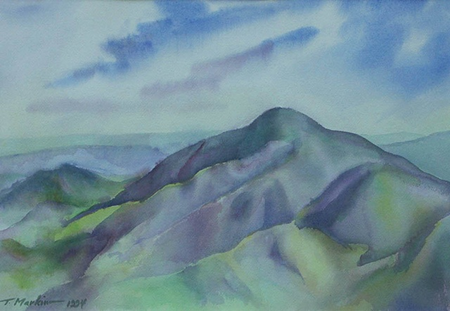 watercolor painting of the Blue Ridge Mountians of Viriginia in soft tones of blue and green