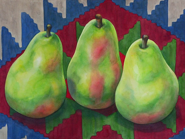 Watercolor painting of three pears on a multicolored Azeri kilim carpet