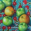 Green Apples and Oranges on Carpet